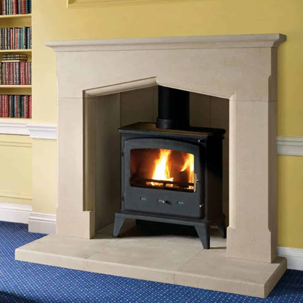 Artisan Nera Large Antiqued Sandstone Fireplace Artisan